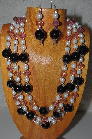Bead Necklaces: Unique Hand Made 3 Strand Necklace & Earring Sets