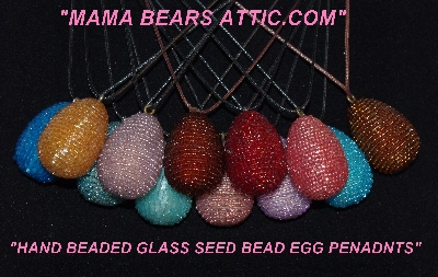 Hand Glass Beaded Egg Pendants