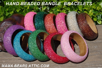 Hand Beaded Items: Hand Beaded Wood Bangle Bracelets