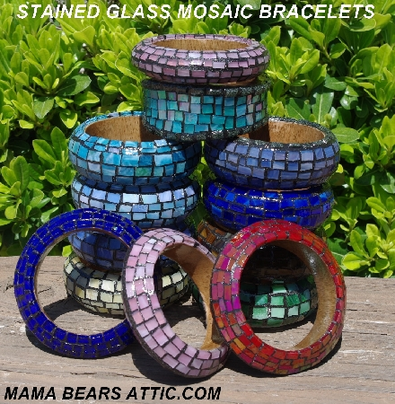 Hand Made:  Stained Glass Mosaic Wood Bangle Bracelets