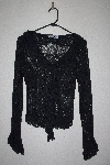 "**MBAMG #79-106  ""Newport News Black Lace Stertch Ruffle Trim Top"""