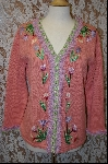 "+MBA #7998  ""StoryBook Knits Limited Edition Peach Floral Fringed Sweater"