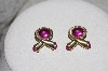 "** MBAMG #038  ""Vintage Pink Acrylic Stone Ribbon Earrings"""