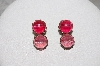 "+ MBAMG #79-054  ""Vintage Pink Acrylic Bead Clip On Earrings"""