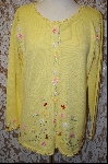 """SOLD""    MBA #7989   ""StoryBook Knits Limited Edition Bright Yellow Floral Sweater"