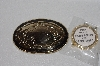 "MBAMG #79-133  ""1980's Goldtone & Black Enamel Belt Buckle With 39MM Attachment For Coins Or Gemstones"""