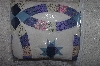 "**MBAMG #11-753  ""Hand Quilted Patch Work Blue Star Wedding Ring Quilt"""
