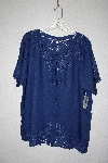 "MBAMG #11-1211  ""Jane Ashley Blue Rayon Fancy Embroidered Top"""