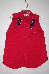 "MBAMG #11-1215 ""One Of A Kind Hand Beaded Red Anchor Blue Top"""