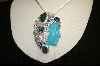**Sterling Turquoise Face & Multi Gem Pin/Pendant