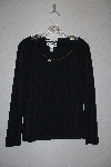 "MBAMG #11-1231  ""Geroge Simonton Black Knit Top With Faux Chain Detail"""