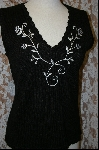 "+MBA #7947  ""StoryBook Knits Black Embroidered Tank"