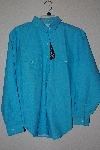 "+MBAMG #11-1123  ""Panhandle Slim 1980's Turquoise Western Dress Shirt"""