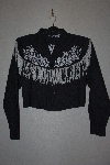 "MBAMG #11-1087  ""Chaparral Ridge Black Fringed & Embroidered Top"""