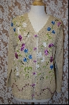 "+MBA #7934  ""StoryBook Knits Limited Edition Tan Floral Dragonfly Sweater"