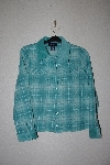 "MBAMG #79-021  ""Denim & Co Green Plaid Flannel Shirt With Corduroy Trim"""