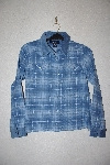 "MBAMG #76-009  ""Denim & Co Blue Plaid Flannel Shirt With Corduroy Trim"""