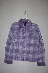 "MBAMG #76-059  ""Denim & Co Purple Plaid Flannel Shirt With Corduroy Trim"""