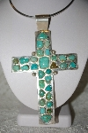 **MBATQ #1-1002  Atist Signed Large Turquoise Cross Pendant""
