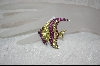 "**MBA #CW-RAP  ""Charles Winston Created Ruby and Yellow Cz Angel Fish Pin"