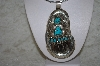 "**MBATQ #1-1014  ""Artist Signed Large Blue Turquoise & Bear Claw Pendant"""