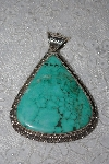 "**MBATQ #1-1028  ""Large Sterling Blue Turquoise Pendant"""
