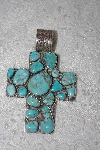 "**MBATQ #1-1029  ""Large Artist Signed Blue Turquoise Cross Pendant"""