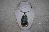 "**MBATQ #1-1043  ""Artist Signed Fancy Blue Turquoise & Bear Claw Pendant"""