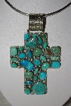 "**MBATQ #1-1059  ""Artist Signed Fancy Blue & Green Turquoise Cross Pendant"""