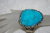 "**MBATQ #1-1082  ""Artist Stamped Fancy Blue Turquoise Cuff Bracelet"""