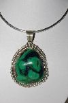 "**MBATQ #1-1268  ""Artist Signed Fancy Azurite Sterling Pendant"""