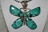 "**MBATQ #2-027  ""Artist Signed Beautiful Green Turquoise Butterfly Pendant"""
