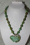 "**MBATQ #2-043  ""Artist Signed Green Turquoise Bead Necklace With Hand Carved Lizzard Pendant"""