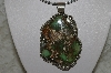 "**MBATQ #2-061  ""Large Fancy Artist Signed Green Turquoise Pendant"""
