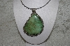 "**MBATQ #2-065  ""Large Fancy Artist Signed Green Turquoise Pendant"""