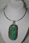 "**MBATQ #2-069  ""Artist Signed Green Turquoise Pendant"""