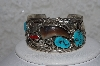 "**MBATQ #3-019  ""Artist Signed Fancy Blue Turquoise & Bear Claw Cuff Bracelet"""