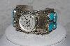 "**MBATQ #3-073  ""Artist Signed Fancy Blue Turquoise Cuff Watch"""