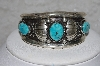 "**MBATQ #3-068  ""Fancy Artist Signed Blue Turquoise Cuff Bracelet"""