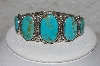 "**MBATQ #3-055  ""Artist Signed Blue Turquoise Cuff Bracelet"""