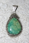 "**MBATQ #3-142  ""Artist Signed Fancy Green Turquoise Pendant"""
