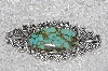 "**MBATQ #3-125  ""Fancy Artist Signed Blue Turquoise Pin"""