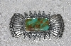 "**MBATQ #3-119  ""Fancy Artist Signed Green Turquoise Pin"""