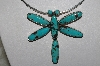 "**MBATQ #3-111  ""Beautiful Artist Signed Blue Turquoise Dragonfly Pin/Pendant"""