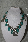"**MBATQ #3-100  ""Fancy Sterling Beard,Charm & Blue Turquoise Necklace"""