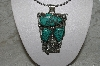 "**MBATQ #3-089  ""Large Artist Signed Green Turquoise Bear Pendant"""