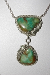 "**MBATQ #3-258  ""Artist Hand Signed Green Turquoise Necklace"""