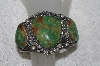 "**  MBATQ # 3-239  ""Large Artist Signed 3 Stone Green Turquoise Cuff Bracelet"""