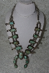 "**MBATQ #3-229  ""Vintage 1960's Green Turquoise Squash Blossom Necklace"""