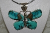 """SOLD""  MBATQ #2-029  ""Large Artist Signed Turquoise Butterfly Pendant"""